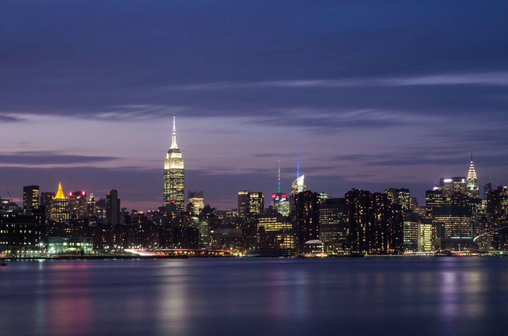 A night time skyline view of New York City